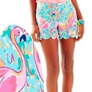 Lilly Pulitzer Flamingo Buttercup Scalloped Shorts